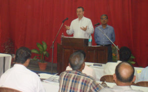 Randy Leinen preaching in Lucknow in 2012. (Mahavir bottom, right)